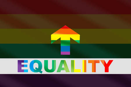 Equality colorful word on grey line and rainbow arrow on LGBT colorful rainbow flag background. Diversity freedom concept and equality social issue idea