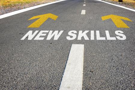 Journey to new skills. Reskilling and upskilling development concept and changing skill demand idea Standard-Bild