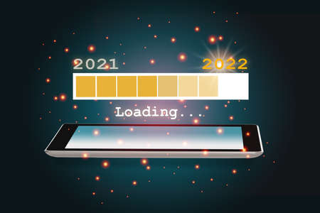 Year 2021 loading to new year 2022 on smartphone on abstract background. Beginning to success with technology concept and revolution idea