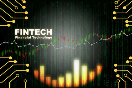 Financial growth graph and stock trading business chart background. Artificial intelligence innovation machine learning concept and financial technology transformation idea Standard-Bild