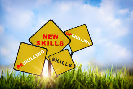 New skills, upskilling, reskilling and skills written on yellow sign on grasses on sky background. Future ahead success with education concept and self development idea