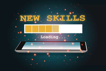 New skills loading on smartphone on abstract background. New skill concept and technology transformation learning model idea