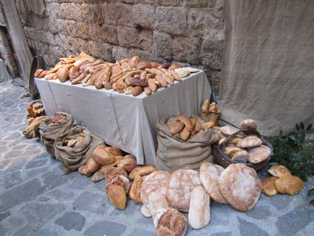 Table with bread at Civita di Bagnoregio Stock Photo