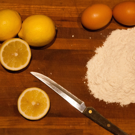 Lemons, flour and eggs for the preparation of many special recipes