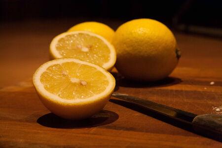 Freshly cut lemon for another recipe
