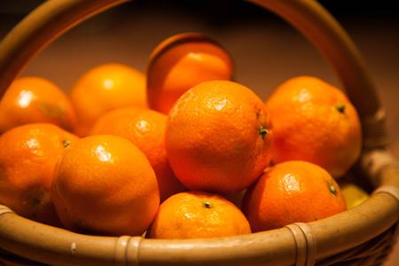 Tangerines in the basket in October.