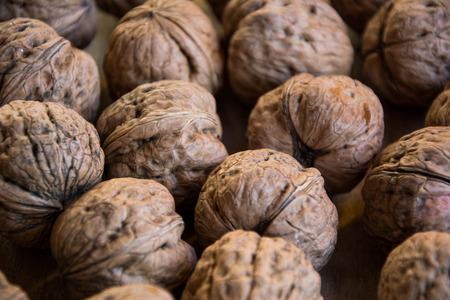 Walnuts on the table. Stock Photo