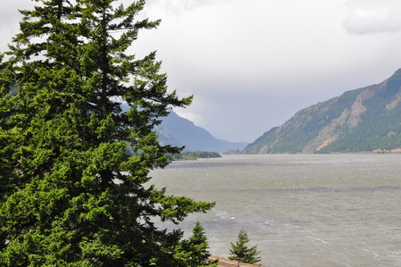 blustery: Scenic shot of Columbia River Gorge off south shore. Stock Photo