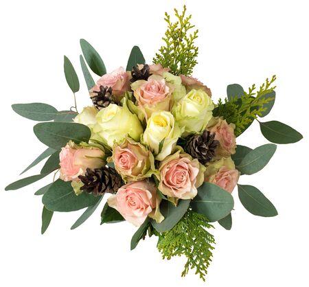 calas blancas: Ramo de novia de rosas con el cono del pino Foto de archivo