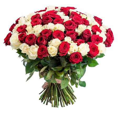 mixed flower bouquet: 101 Red white rose bouquet isolated on white background