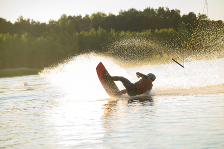 wakeboarder fall down