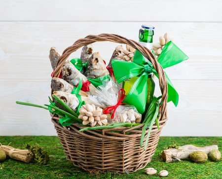 dried fish and beer, St. Patricks Day, February 23 Stock Photo