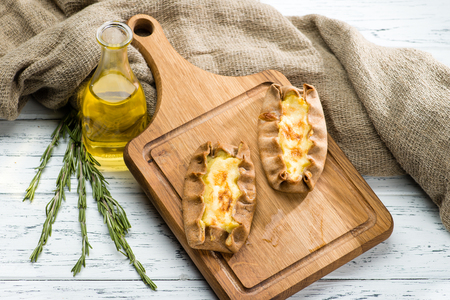 still life with classical Italian fresh homemade Karelian pies w