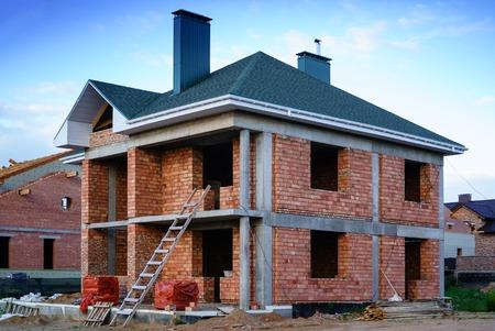 Unfinished brick house, still under construction