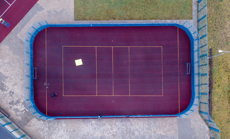 Basketball court at the street. Top view