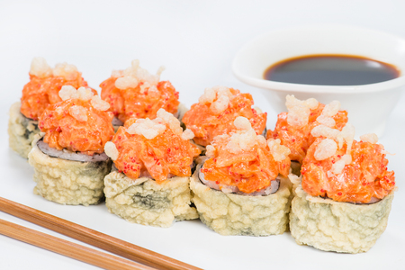 Traditional Japanese cuisine. Tasty sushi rolls with rice, cream
