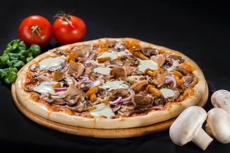 Delicious hot Mushroom Pizza with mozzarella, beef, champigon, p