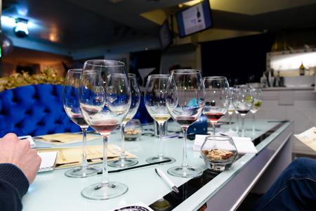 Degustation of white wine and port