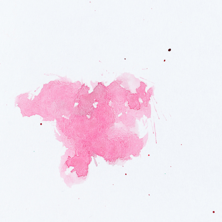 Pink paint splatter. Paint splash on white background. Watercolor texture, effect template Imagens