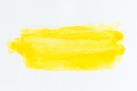 Trazo de pincel amarillo y textura. Subrayado y borde. Textura abstracta acuarela Foto de archivo