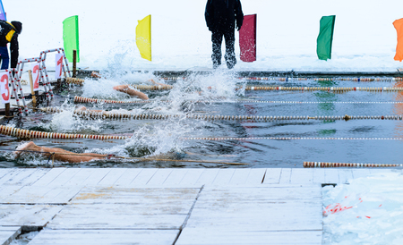 swimming competition in the icy water