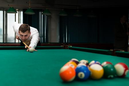 Male athlete game pool billiard, Shallow dof