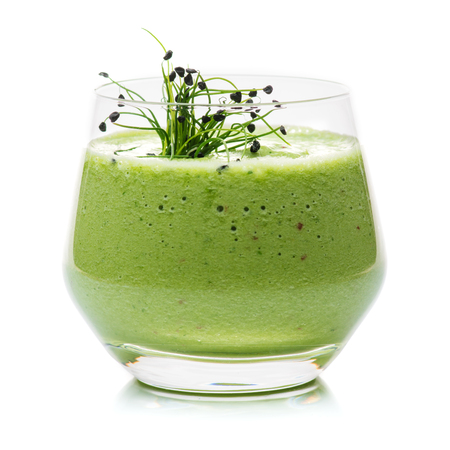 green spinach and kale health smoothie Isolated Stock Photo