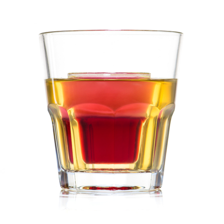close-up Jager bull yellow cocktail in glass isolated on white background Stockfoto - 105671107
