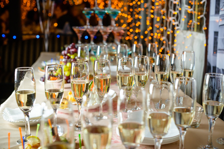 Line of glasses with champagne Stock Photo