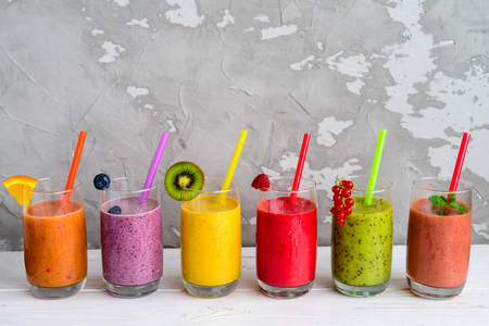 Healthy Smoothies with Tropical Fruits with copy space