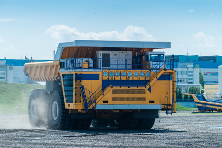 Big yellow Career heavy-load car, dump truck Standard-Bild