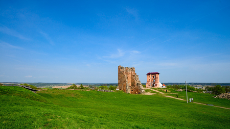 Ruins of Novogrudok castle on summer day in Belarus