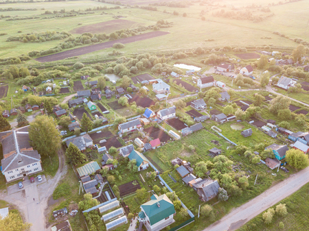 Nice aerial view of Russia village in summer day. Move To The Countryside concept