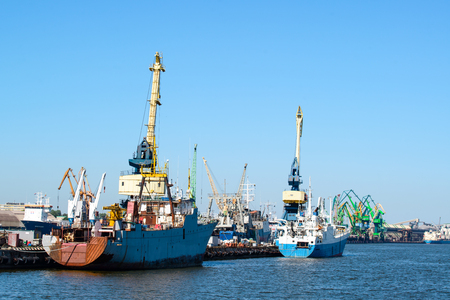 Seaport, crane in port, concept of sea shipping Фото со стока