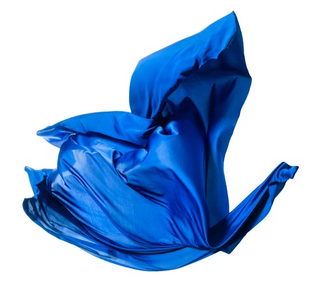 abstract piece of blue fabric flying, high-speed studio shot, silk is isolated on white, like a bird