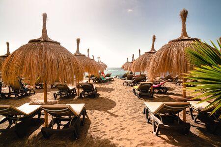 popular Tenerife beach at sunset, resort vacation concept, beach in island of tenerife, costa adeje Standard-Bild