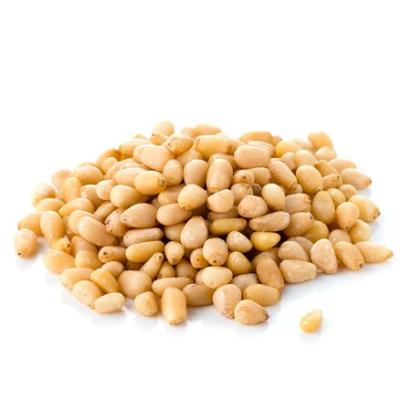 Delicious pine nut isolated, Cedar Pine nuts on a white