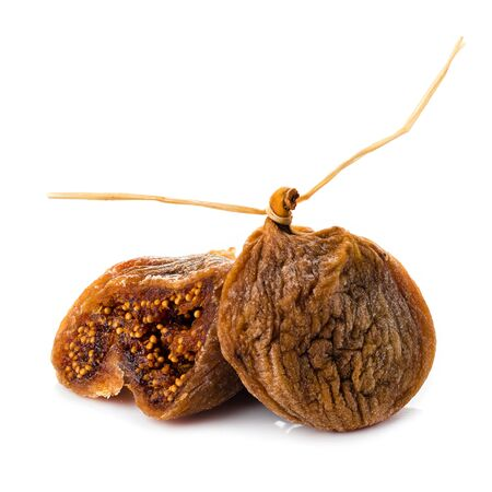dried fig fruit on white background, closeup dry figs isolated Imagens