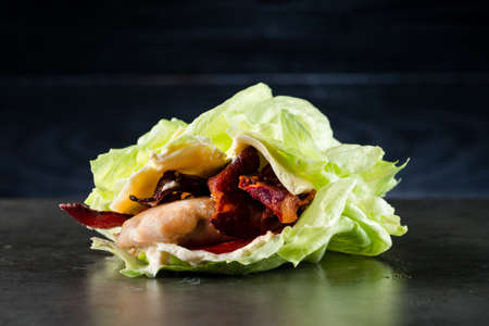 low-carb with chicken breast and bacon, Barbecued Chicken Breast Wrapped in Bacon BBQ Reklamní fotografie