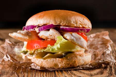 grilled chicken fillet Burger, gourmet chicken sandwich with fresh and healthy ingredients