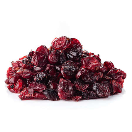 Dried cranberries isolated, cranberry on white background