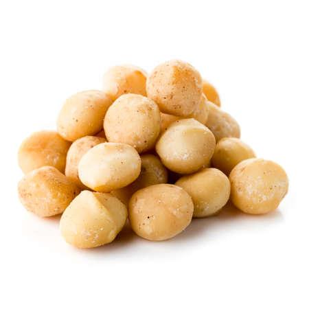 Peeled Macadamia nut on a white background, macadamia nut isolated Reklamní fotografie