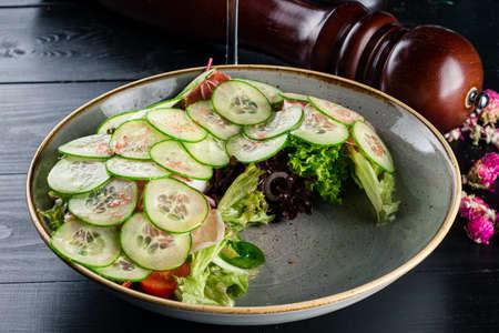 fresh salad with cucumber and Parma, mediterranean salad Reklamní fotografie