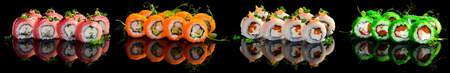 Collection of sushi rolls isolated, Delicious sushi, maki, nigiri pieces on black background