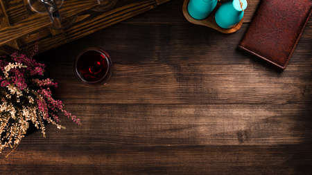 brown wooden background with Copy space Provence Lavender on brown aged wooden table, top view, rustic country style.