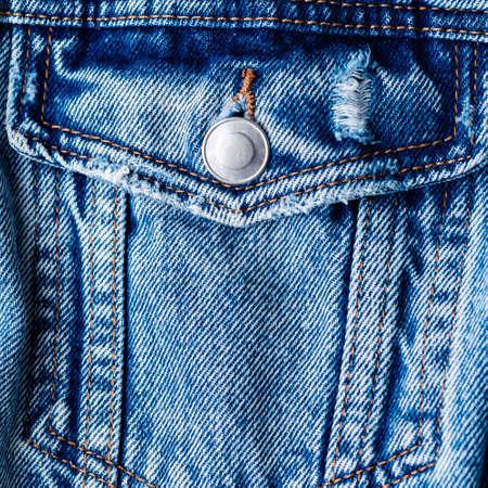 blue jeans jacket, denim jacket pocket close up 免版税图像