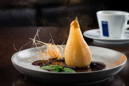 caramelized pear with chocolate glazed, very delicious and traditional recepy, pear with caramel and chocolate, delicious classic dessert