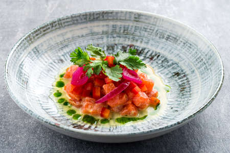 Delicious and fresh ceviche served. Latin food ceviche of salmon Top view 免版税图像