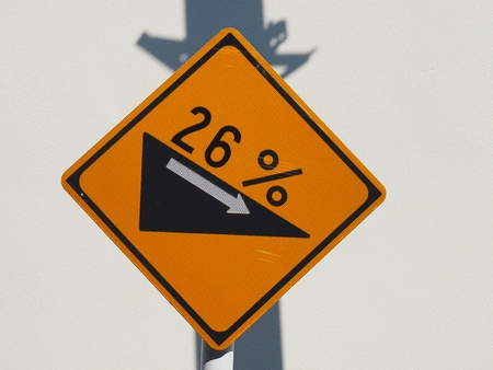 Traffic signs 26% steep slope