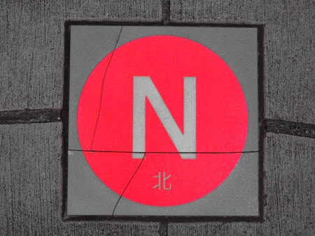 north direction compass, printed small text means North in Japanese